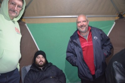 Bob (l) Andy (mid) and Paul (r) in the heated operating tent